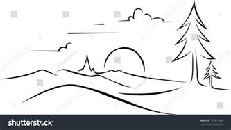 Sunset Drawing Outline by Abstract Landscape Drawing Black Outline Stock Vector 131617406