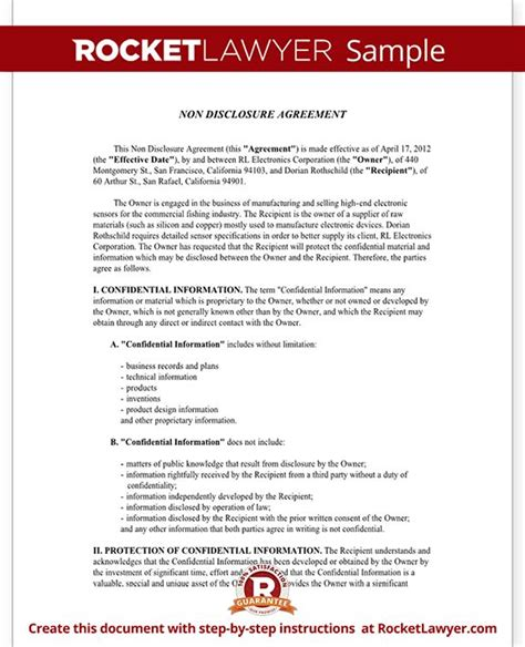 nda agreement template 25 best ideas about non disclosure agreement on