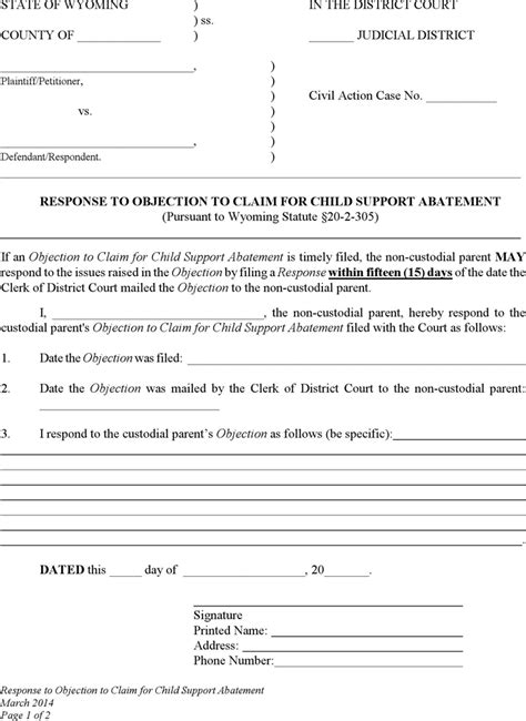 Child Support Letter Of Abatement The Wyoming Response To Objection To Claim For Child Support Abatement Form Can Help You Make A