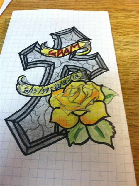yellow rose memorial tattoo memorial cross and tattoos
