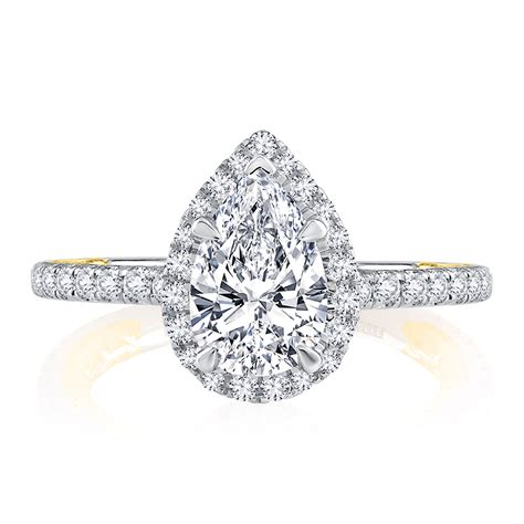 Two Tone Halo Engagement Ring - classic two tone halo pear cut engagement ring