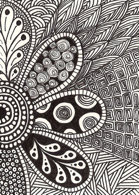 doodle zentangle free coloring pages of flower doodling