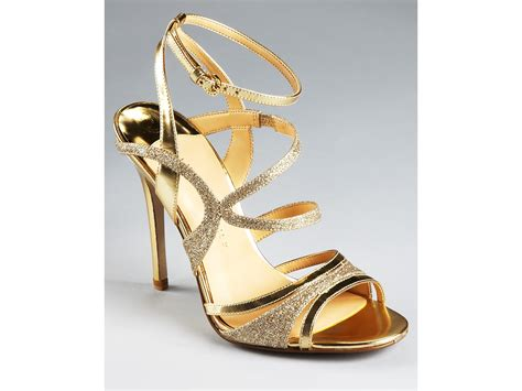 gold evening sandals ivanka evening sandals halley strappy in gold lyst