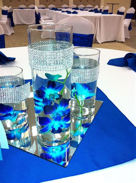 blue themed centerpieces pink orchid wedding centerpieces ideas