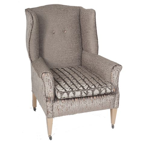 Wingback Armchair by Edwardian Wingback Armchair On Original Casters