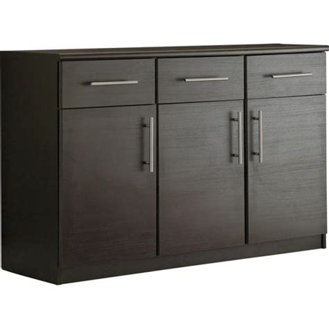 buy home 3 door 3 drawer sideboard black at