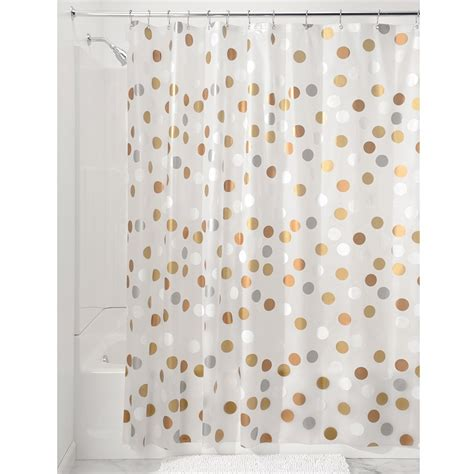 dot shower curtain interdesign 174 metallic gilly dot peva shower curtain
