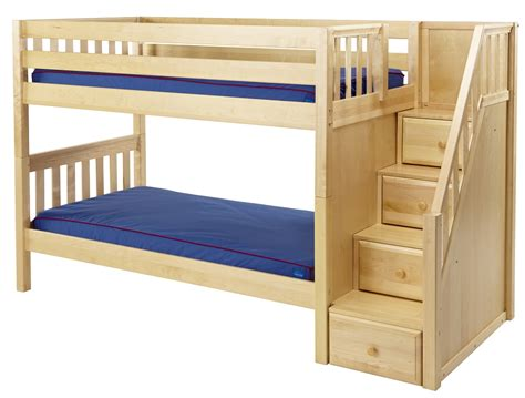 maxtrix low bunk bed w staircase on end - Low Bunk Beds