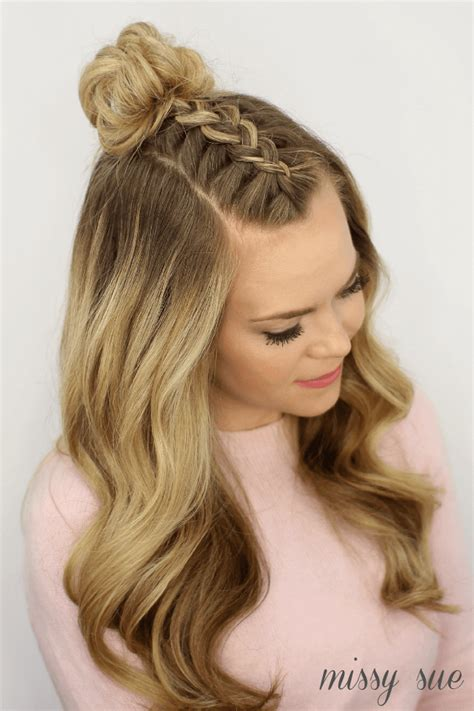 braided top knots  give  hair envy