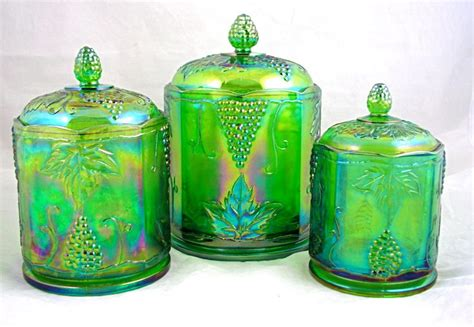 lime green canisters vintage indiana glass harvest grape lime green carnival canister biscuit jar set of 3 free usa