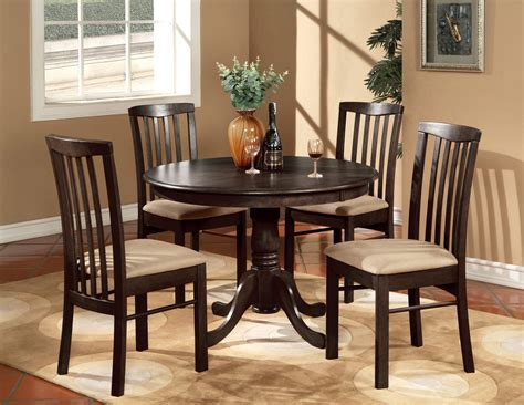 Kitchen Breakfast Table Sets 5pc 42 Quot Kitchen Dinette Set Table And 4 Wood Or Upholstered Chairs Walnut Ebay