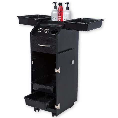 Trolly Salon aaron salon cart with lock tool holders and bottle well in black