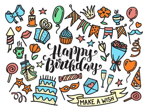 doodle happy birthday 17 colorful happy birthday lettering and doodle set