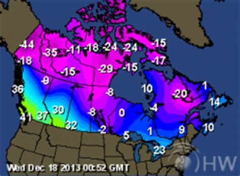 weather map of us and canada current temperature canada map