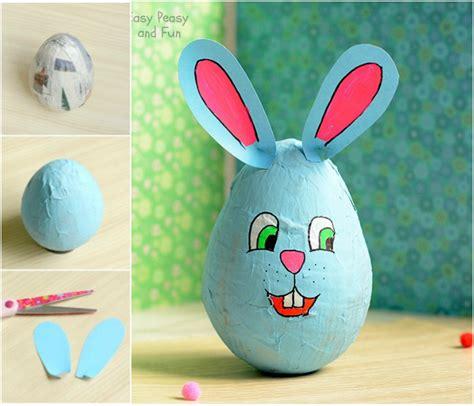 Easy Paper Mache Crafts - wobbling papier mache bunny easter crafts for