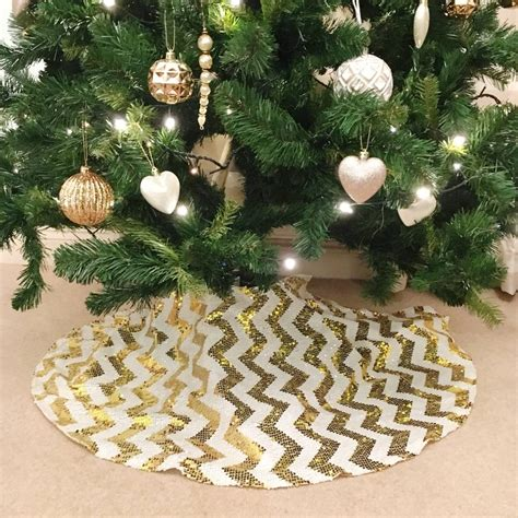 gold chevron sequin christmas tree skirt by the sweet