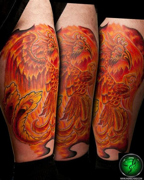 tattoo phoenix on leg phoenix leg tattoo by andre cheko tattoonow