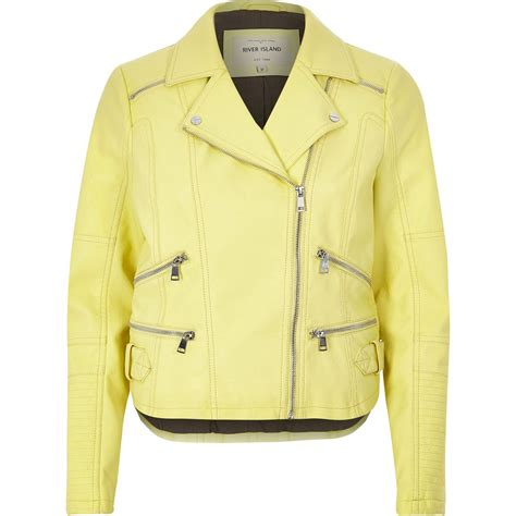 light yellow leather river island light yellow leather look zip biker jacket in