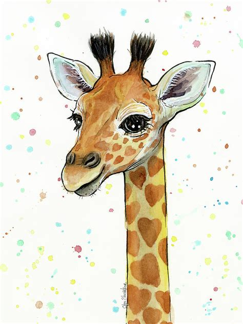 baby giraffe watercolor with heart shaped spots painting