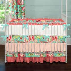 Blue And Coral Floral Toddler Size Bedding Set Sweet Jojo Ebay » Ideas Home Design