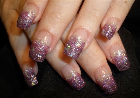 glittery purple nail art purple glitter nail art