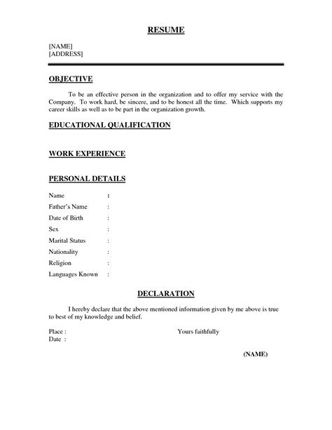3 Page Resume Format by One Page Resume Template Cyberuse