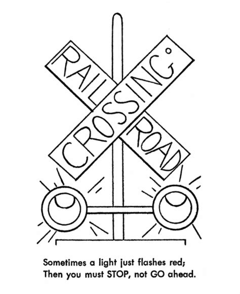 train crossing coloring page railroad safety coloring pages train signal light safety
