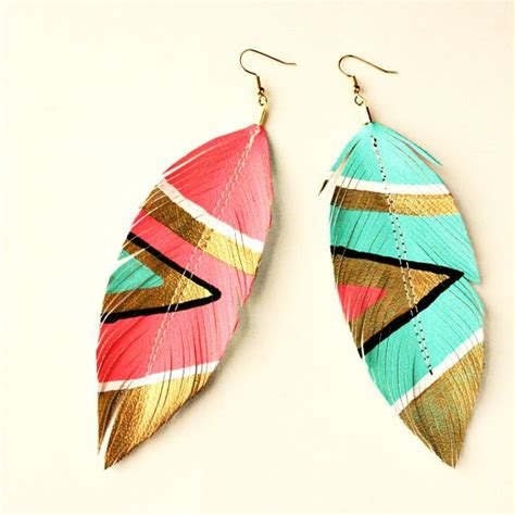 diy leather feather earrings lovely frugal