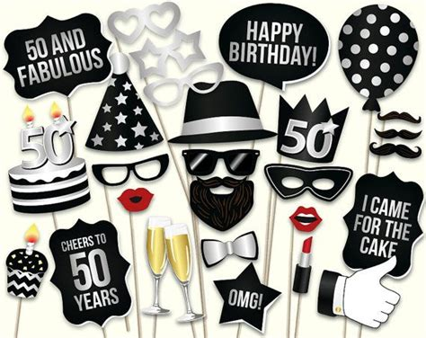 printable photo booth props birthday 50th birthday photo booth props printable pdf birthday