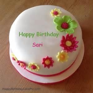 Colorful flowers birthday cake for sari