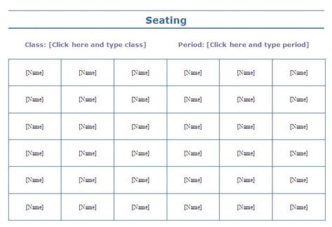 seating chart template classroom seating charts templates images