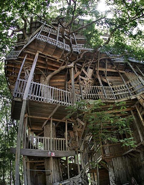 the tallest house in the world 1 man 10 stories 100 feet tallest treehouse in the world