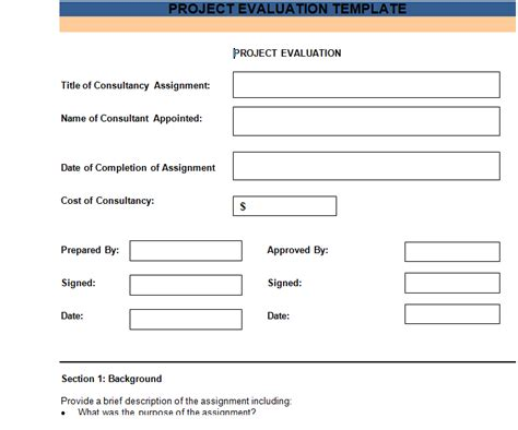 project evaluation template projectemplates