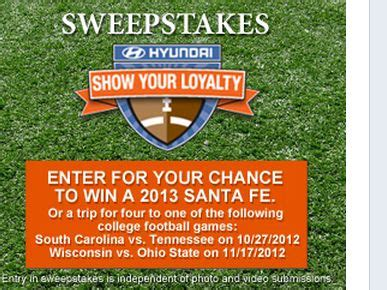Football Hyundai Sweepstakes - hyundai show your loyalty sweepstakes