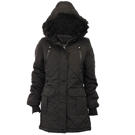 Seoul Blazer Jaket Coat parka jacket brave soul womens coat padded hooded quilted faux fur winter ebay