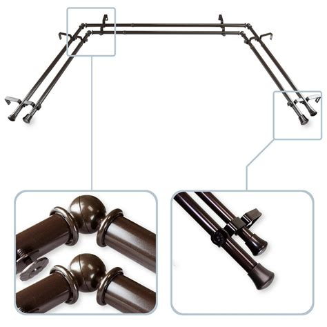 bay window double curtain rods rod desyne 13 16 in bay window double curtain rod in