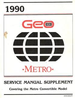 1991 geo metro factory service manual supplement convertible