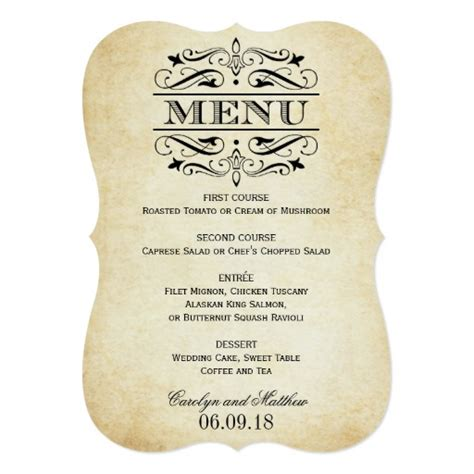 menu invitation template vintage wedding menu card flourish zazzle