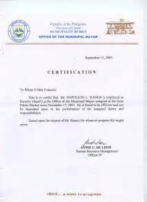 Certification Letter For Employment Sample 9 Best Images Of Certificate Of Employment Template