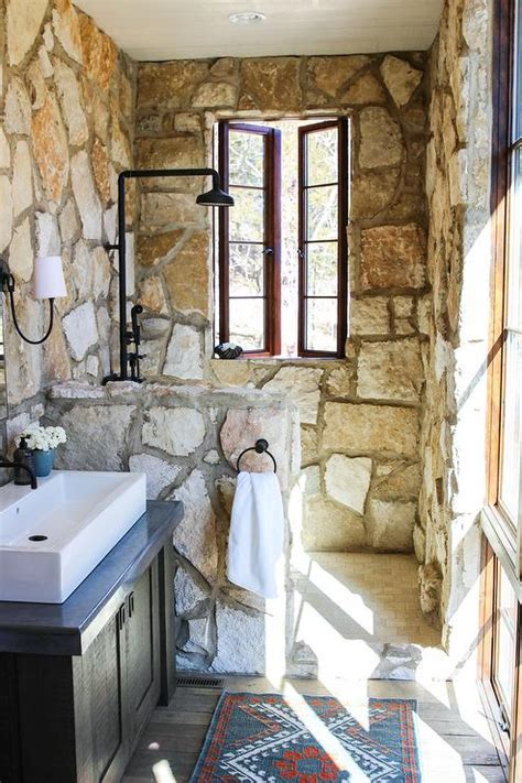 bloombety rustic bathrooms designs slate wall rustic small gray bathroom vanity with gray stone countertop