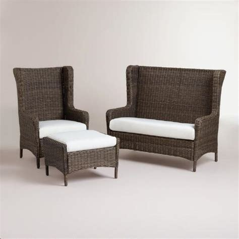 wicker wingback dining chair himara all weather wicker wingback chair world market