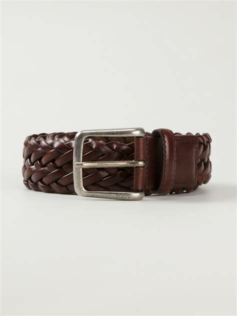 Woven Belt lyst tod s woven belt in brown for