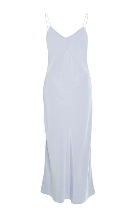 light blue satin dress cade light blue silk dress in blue light blue lyst