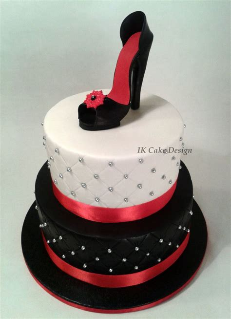 high heel birthday cake images black and white quilted cake topped with a and black