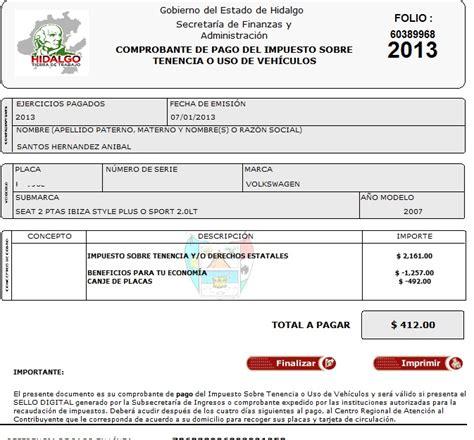 pago de tenencia 2016 aguascalientes formato pago de tenencia hidalgo 2016 imprimir formato
