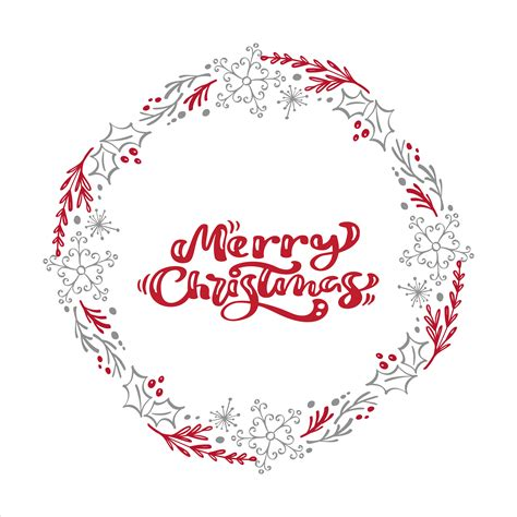 merry christmas calligraphy vector text  xmas floral wreath frame lettering design