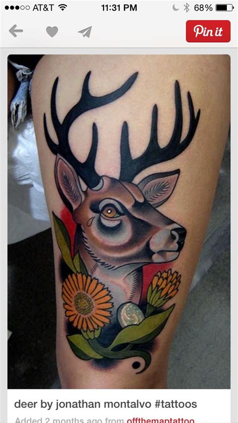 traditional deer tattoo 1000 images about tattoos on