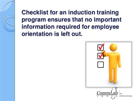 employee induction orientation checklist for new employee induction program
