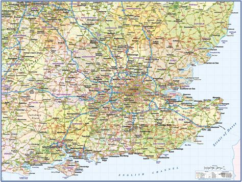 map uk south east south east 1st level county wall map with roads