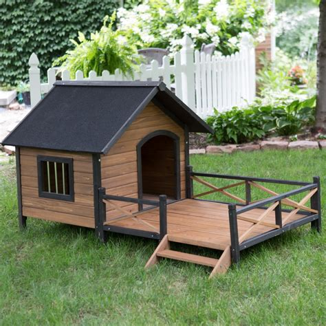 two dogs in a house luxury wooden dog house